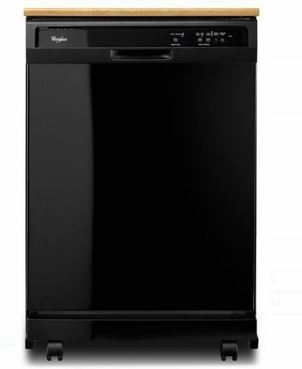 """WDP340PAFB 24"""" Whirlpool Full Console Portable Dishwasher"""