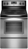 WFE530C0ES Whirlpool 5.3 Cu. Ft. Freestanding Electric Range with High-Heat Self-Cleaning System - Black on Stainless Steel