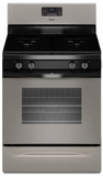 WFG515S0ED Whirlpool 5.0 Cu. Ft. Freestanding Gas Range with AccuBake Temperature Management System - Black on Universal Silver