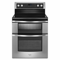 WGE555S0BS Whirlpool 6.7 Total Cu. Ft. Double Oven Electric Range with AccuBake System - Stainless Steel
