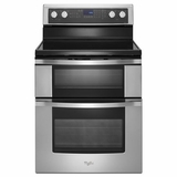 WGE755C0BS Whirlpool 6.7 Total cu. ft. Double Oven Electric Range with True Convection Cooking - Stainless Steel