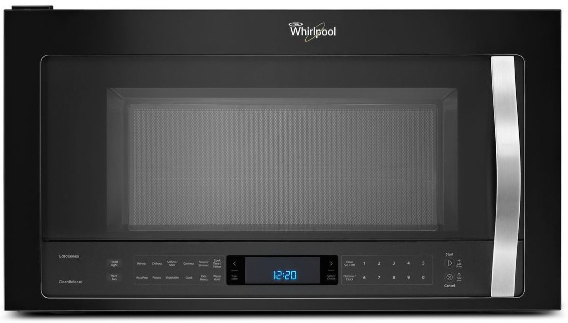 Wmh76719ce Whirlpool 1 9 Cu Ft Over The Range Microwave With True Convection Black