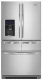 "WRV996FDEM Whirlpool 36"" 26 Cu. Ft. Double Drawer French Door Refrigerator with Temperature Controlled Drawer - Monochromatic Stainless Steel"