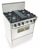 "WTN275-7W Five Star 30"" Pro Style Dual-Fuel Self-Cleaning Convection Range with Open Burners - Natural Gas - White"