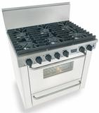 "WTN311-7W Five Star 36"" Pro Style Natural Gas Range with Six Sealed Burners - White"