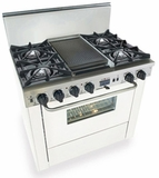 "WTN325-7W Five Star 36"" Pro Style Dual-Fuel Self-Cleaning Convection Range with Open Burners - Natural Gas - White"