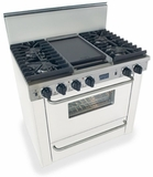 "WTN331-7W Five Star 36"" Pro Style All Gas Convection Range with Sealed Burners - Natural Gas - White"