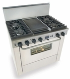"WTN337-7W Five Star 36"" Pro Style Dual-Fuel Self-Cleaning Convection Range with Sealed Burners - Natural Gas - White"