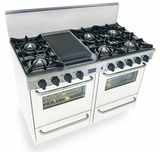 "WTN510-7W Five Star 48"" Pro Style Gas Range with Open Burners - Natural Gas - White"