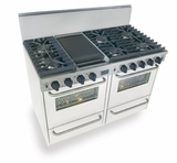"WTN531-7W Five Star 48"" Pro Style Gas Convection Range with Sealed Burners - Natural Gas - White"