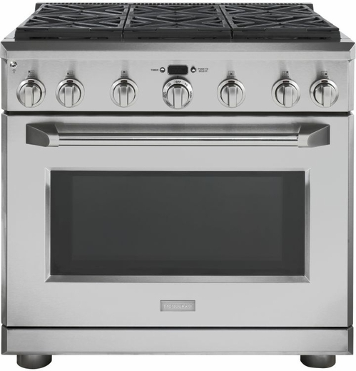 """ZDP366NPSS GE Monogram® 36"""" Dual-Fuel Pro Style Range with 6 Burners - Natural Gas - Stainless Steel"""
