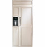 "ZISB360DH GE Monogram 36"" Built-In Side-by-Side Refrigerator with Dispenser - Custom Panel"