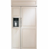 "ZISB420DH GE Monogram 42"" Built-In Side-by-Side Refrigerator with Dispenser - Custom Panel"