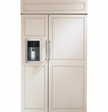 "ZISB480DH GE Monogram 48"" Built-In Side-by-Side Refrigerator with Dispenser - Custom Panel"