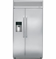 "ZISP420DHSS GE Monogram 42"" Built-In Professional Side-by-Side Refrigerator with Dispenser - Stainless Steel"