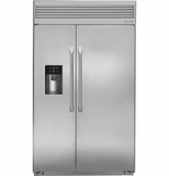 "ZISP480DH GE Monogram 48"" Built-In Professional Side-by-Side Refrigerator with Dispenser - Stainless Steel"