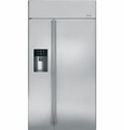"ZISS420DHSS GE Monogram 42"" Built-In Side-by-Side Refrigerator with Dispenser - Stainless Steel"