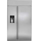 "ZISS480DHSS GE Monogram 48"" Built-In Side-by-Side Refrigerator with Dispenser - Stainless Steel"