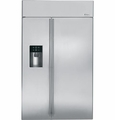 "ZISS480DH GE Monogram 48"" Built-In Side-by-Side Refrigerator with Dispenser - Stainless Steel"