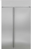"ZISS480NKSS GE Monogram 48"" Built-In Side-by-Side Refrigerator with LED Lighting and WiFi Connect - Stainless Steel"
