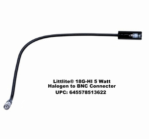 "Littlite 18G-HI 18"" 5 Watt Halogen Gooseneck Light with BNC Connector"