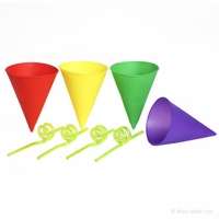 Silicone Snow Cone Cups with Swirl Straws
