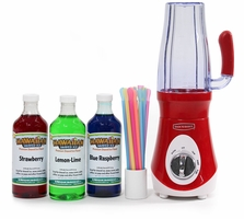 Slushie Express Party Package with 3 Syrup Flavors and Spoon Straws