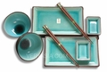 Aqua Blue Crackle Design Japanese Dinner Set (8-pc Set)