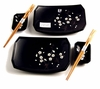 Black Cherry Blossom Sushi Set (6-pc set) - QG6-KC