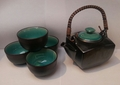 Crackle pattern 6 pcs tea set (aqua) - LAST ONE