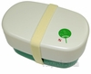 Pearl D-3053 Oval Shaped Green Leaf Lunch Box (White/Green)