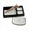 White Cherry Blossom Sushi Dish Set (6-pc set)