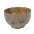 Wooden Miso Soup and Rice Bowl with Butterfly Design