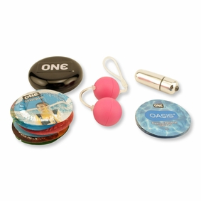 Curiosity Collection - Ben-Wa Balls, a Vibrator and Condoms