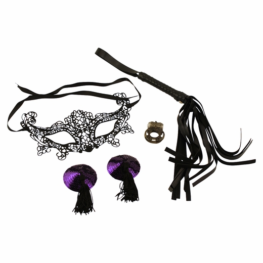 The Dominatrix Kit - Mask, Whip, Pasties & Vibrating Ring