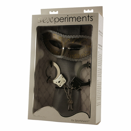 Sexperiment Kit - Grey Tie, Handcuffs & Mask