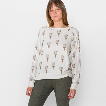 All Things Fabulous Raglan Cozy Sweatshirt in Flower Cone