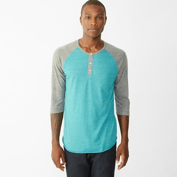 Alternative Apparel 3/4 Raglan Crew in Eco True/Sea Green