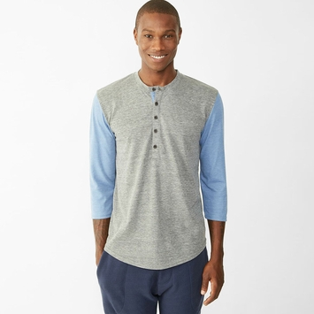 Alternative Apparel Baseball Henley in Eco Grey