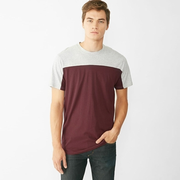 Alternative Apparel Blocked Short Sleeve Crew in Black Cherry