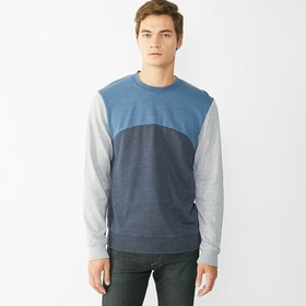 Alternative Apparel French Terry Color Blocked Crew in Midnight