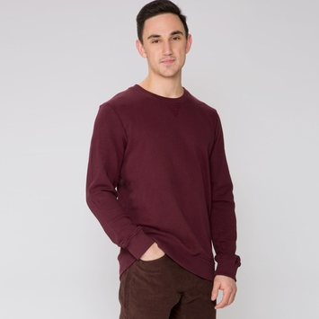 Organic Alternative Apparel French Terry Crew Neck in Black Cherry