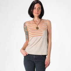 Amour Vert Angeline Colorblock Tank in Oatmeal/Orange Stripe