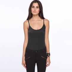 Amour Vert Camille Basic Tank in Anthracite