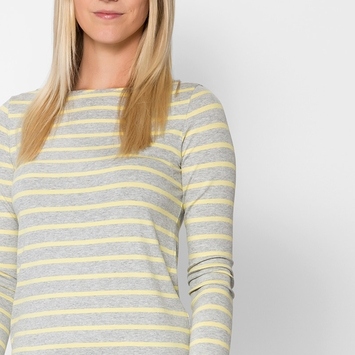 Amour Vert Francoise Long Sleeve Top in Yellow Stripe
