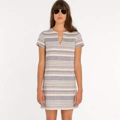 Eco Amour Vert Janelle A-Line Dress in Blue Stripes