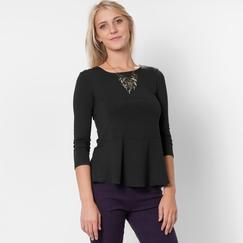 Amour Vert Miranda Long Sleeve Tee in Black