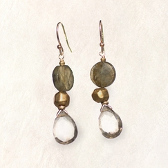 Avindy Labradorite Coin Earrings