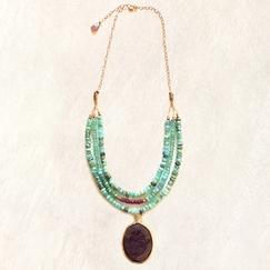 Avindy Organic Ruby on Opals Necklace
