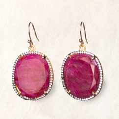 Avindy Ruby Corundum Cushion Earrings